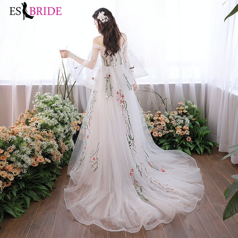 Prom Long Elegant Dresses ES1891-1 Half Sleeve A-line Tulle Appliques Embroidery Prom Dresses 2019 Pink Sexy Vestido Formatura