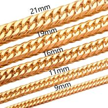 News Fashion 9/11/13/16/19/21mm High Quality Gold Tone Stainless Steel Miami Curb Cuban Chain Necklaces Mens Link jewelry high quality 21mm 60 cm super heavy thick mens flat curb cuban chain necklaces tone stainless steel hip hop gold silver necklace