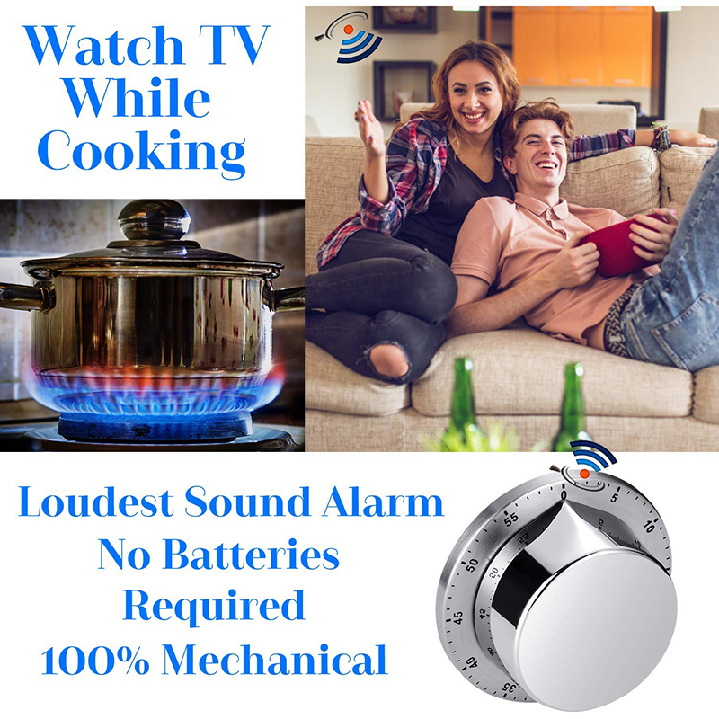 Kitchen Timer, Chef Cooking Timer Clock With Load Alarm, Mechanical - Magnetic Backing, 60 Minute Countdown Reminder