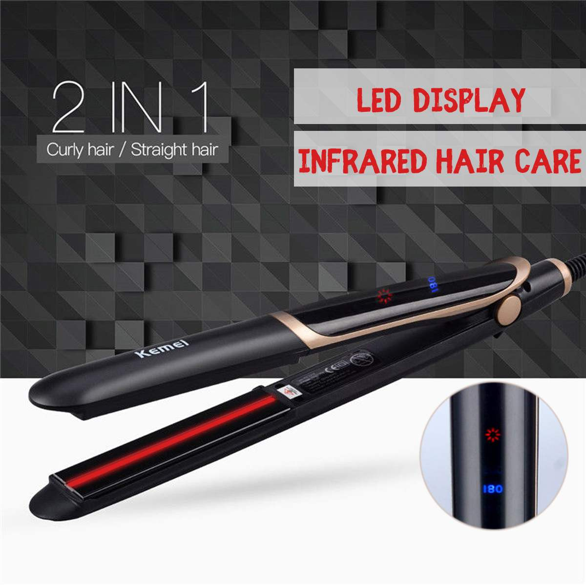 Kemei LCD Display Professional Hair Straightener Curler Hair Flat Iron Infrared Hair Straighting Curling Iron Corrugation