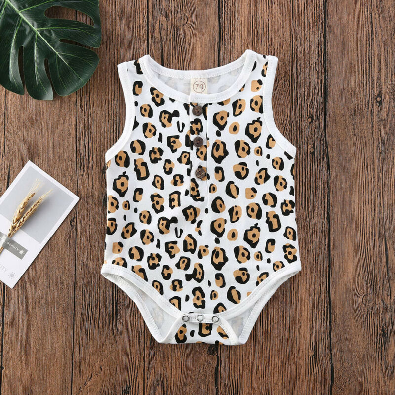 CANIS Baby Girls' Leopard Pattern Print Sleeveless Button Bodysuit Newborn Fashion Ruffled Jumpsuit