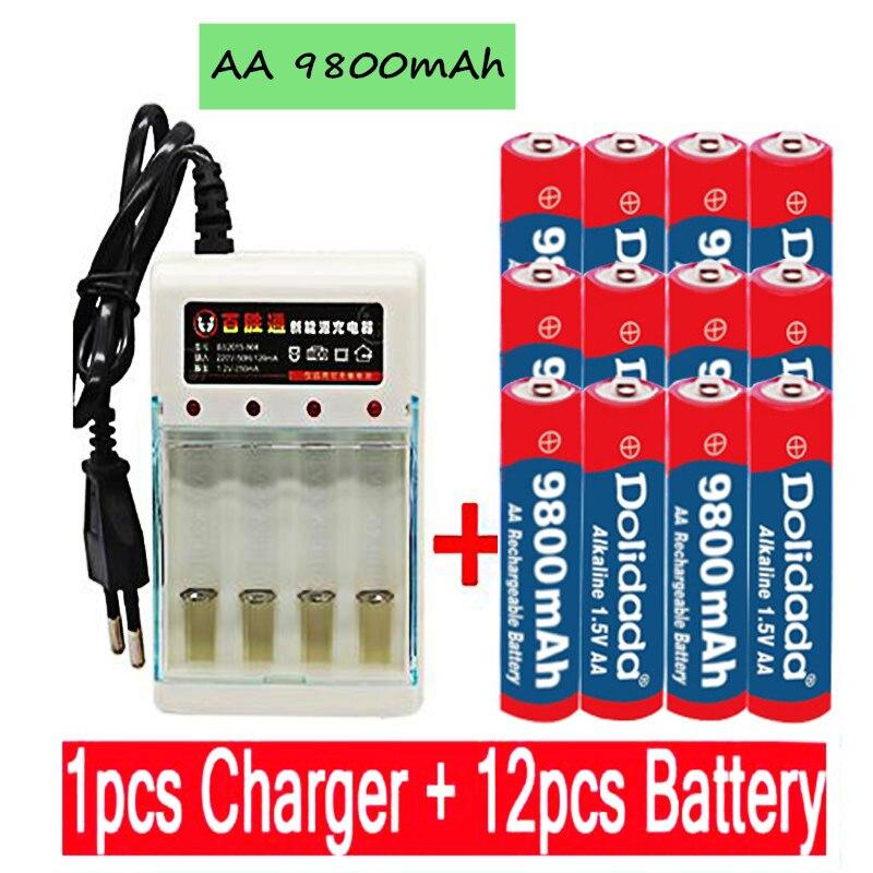 Новинка 2021, батарея AA 9800 мАч, перезаряжаемая батарея AA 1,5 В. Перезаряжаемые Новый Alcalinas drummey + 1 шт., размер: 4-элементная батарея зарядное устрой...