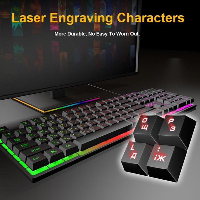 Wired Gaming Keyboard Mechanical Feeling Backlit Keyboards USB 104 Keycaps Russian Keyboard Waterproof Computer Game Keyboards 5