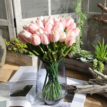 1/10/100Pcs Tulip Home Decoration Artificial flowers Pink/Green/Orange/Light purple/Red/White/Yellow Fake 1Pcs/1Head D40