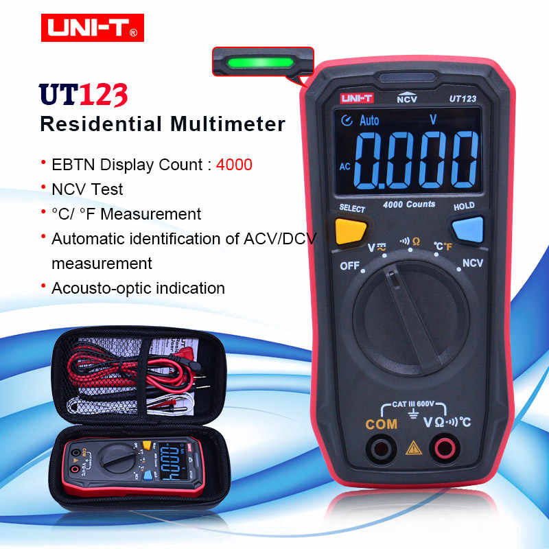 UNI-T UT123 Digitale Multimeter Zakformaat Residentiële Multimeter Ac Dc Spanning Weerstand Temperatuur Ncv Tester Ebtn Display