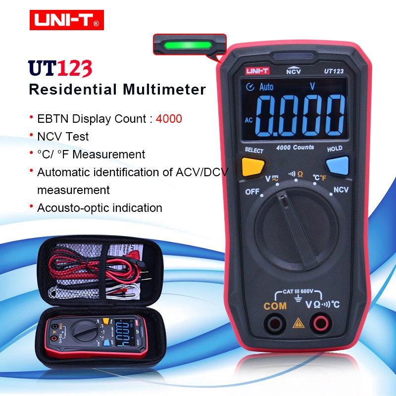 UNI-T UT123 Multímetro Digital de Bolso Tamanho multímetro AC DC tensão Residencial Resistor temperatura display Tester EBTN NCV
