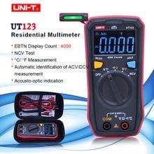 UNI T UT123 דיגיטלי מודד כיס גודל מגורים מודד AC DC מתח הנגד טמפרטורת NCV Tester EBTN תצוגה