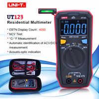 UNI-T UT123 Digital Multimeter Pocket Size Residential multimeter AC DC voltage Resistor temperature NCV Tester EBTN display