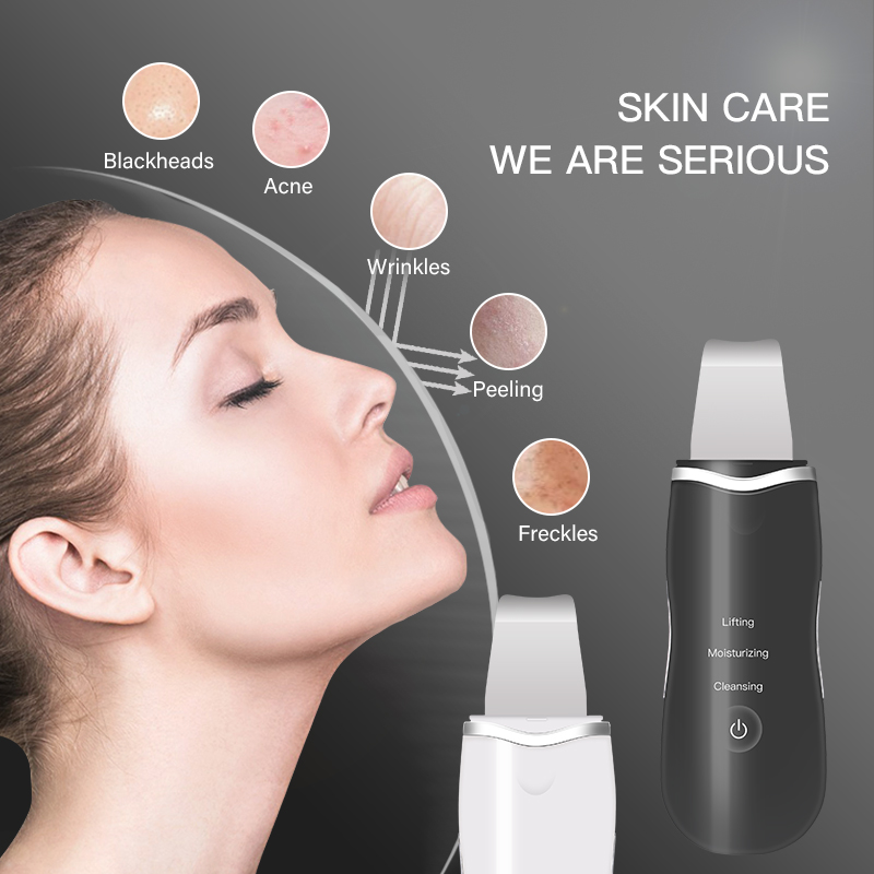Ultrasonic Skin Scrubber Face Spatula Blackhead Removal Pore Cleanser Skin Peeling Lifting Comedone Extractor Beauty Instrument