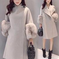 Winter Coat Women Clothing Autumn Fur Collar Office Lady Covered Button Female Woolen Coat Elegant Outwear Ladies Slim Coats