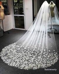 High End Customized Petals Woman Chapel Bridal Veils Veil for Bridal 3D Flowers Wedding Veil Handmade Accessaries