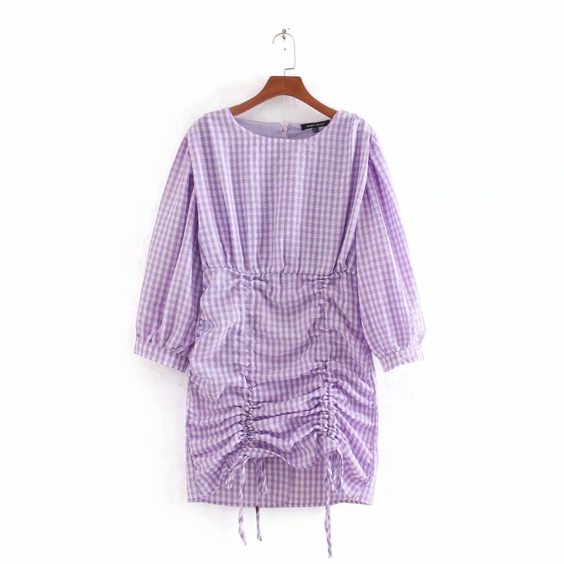 2020 Women Elegant O Neck Plaid Print Mini Dress Ladies Three Quarter Sleeve Back Zipper Vestidos Chic Casual Slim Dress DS3472