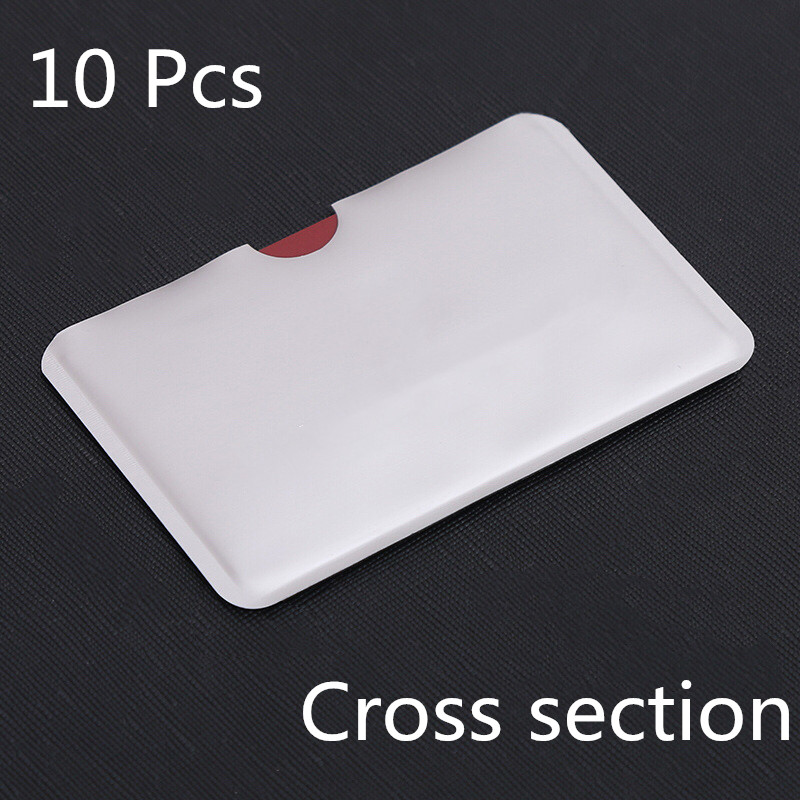 10pcs Silver Anti Scan RFID Sleeve Protector Credit ID Card Aluminum Foil Holder Anti-Scan Card Sleeve Hot Sale Cross Section