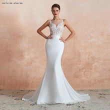 See Through Bodice with Lace Appliques Sexy Mermaid Wedding Dress 40cm Tail Cheap Gowns