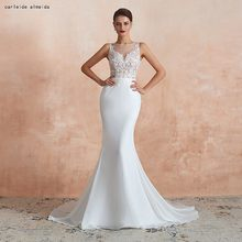 See Through Bodice with Lace Appliques Sexy Mermaid Wedding Dress 40cm Tail Cheap Wedding Gowns(China)