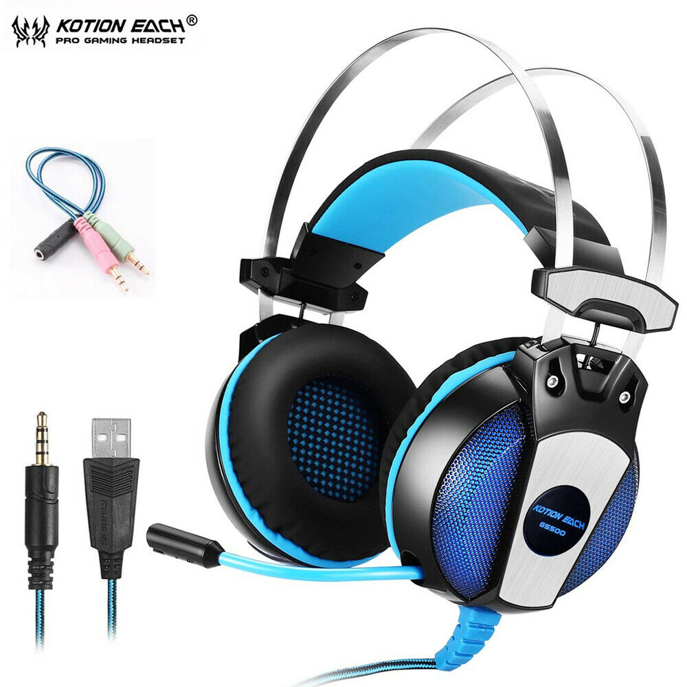 GS500 Gaming Headsets with Microphone 3.5mm Over Ear Gaming Headphones On-Ear Earphone with in-Line Volume Control LED Light 6.9