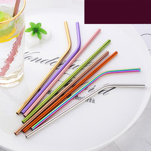 Reusable Metal Drinking Straw 10Colorful 304 Stainless Steel Straight Bent Straws Party Eco-friendly Bar Accessory