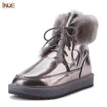 INOE 2021 w nowym stylu skórzane owcze futro pokryte kobiety moda kostki zimowe buty śniegowce w stylu Casual buty zimowe mieszkania wodoodporne