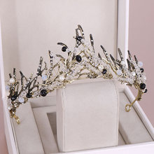 New Retro Baroque Style Black Crystal Simulated Pearl Tiaras and Crowns Princess Diadem Bridal Bride Wedding Party Hair Jewelry(China)