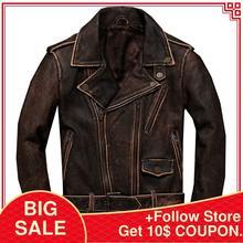 2020 Vintage Brown Men Biker's Style Leather Jacket Plus Size XXXXXL Genuine Thi