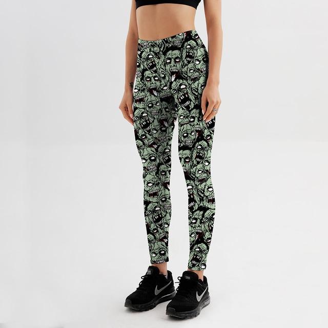 Qickitout Leggings  Drop shipping Women Fashion Leggings Sexy Green zombie Printing LEGGINGS Size S-4XL Wholesale 2
