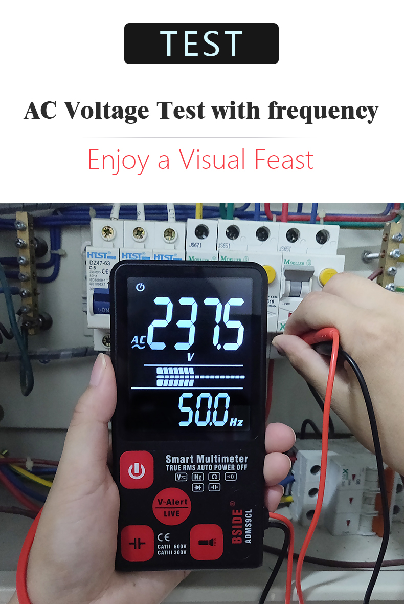 """Hace78bdc3e304b7087ae55d133c2072aW Ultra-Portable Digital Multimeter BSIDE ADMS7 S9CL Large 3.5"""" LCD 3-Line Display Voltmeter DMM AC DC Voltage NCV Ohm Hz Tester"""