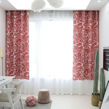 Yaapeet Cotton Linen Blackout Curtains Bedroom Red Printed Curtain High Quality Living Room Geometric Pattern Window Drapes Buy At The Price Of 33 18 In Aliexpress Com Imall Com