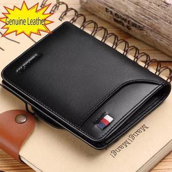 цена на Men Wallet mens slim Credit Card Holder Bifold Genuine Leather mini Multi Card Case Slots Cowhide Leather Wallet New