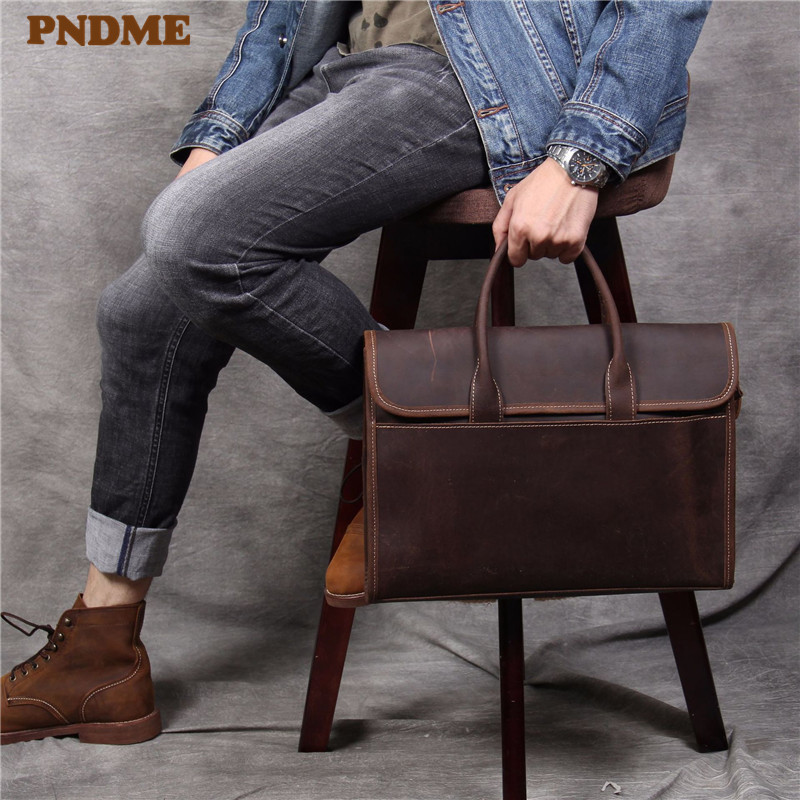 PNDME designer handmade genuine leather men\'s briefcase simple retro luxury crazy horse cowhide business computer bag handbags