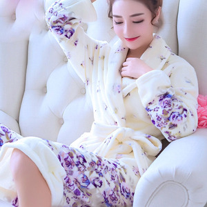 Image 5 - Robes Women Winter Sleepwear Thicken Long Bathrobe Womens Flower Flannel Kimono Nightwear Warm Soft Full Sleeve Print Cartoon