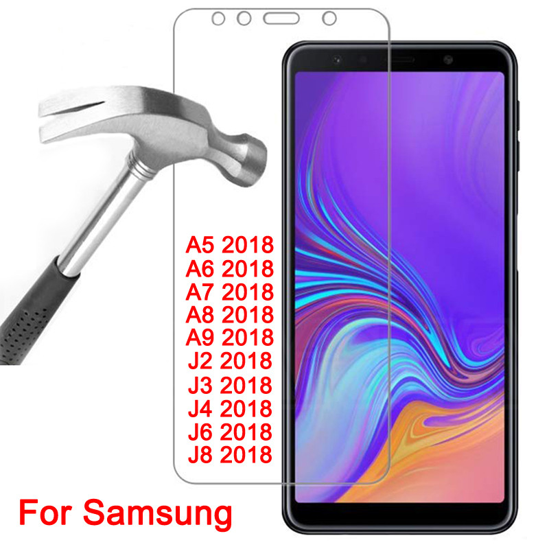 9H HD Tempered <font><b>Glass</b></font> on For <font><b>Samsung</b></font> <font><b>Galaxy</b></font> A5 A7 A9 J2 J8 <font><b>2018</b></font> Screen Protector A6 A8 <font><b>J4</b></font> J6 Plus <font><b>2018</b></font> Protective <font><b>Glass</b></font> Film Case image