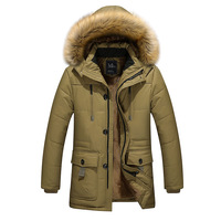 Middle aged Cotton padded Clothes Men'S Wear Daddy Clothes Mid length Brushed And Thick Warm Cotton padded Jacket Detachable Hat
