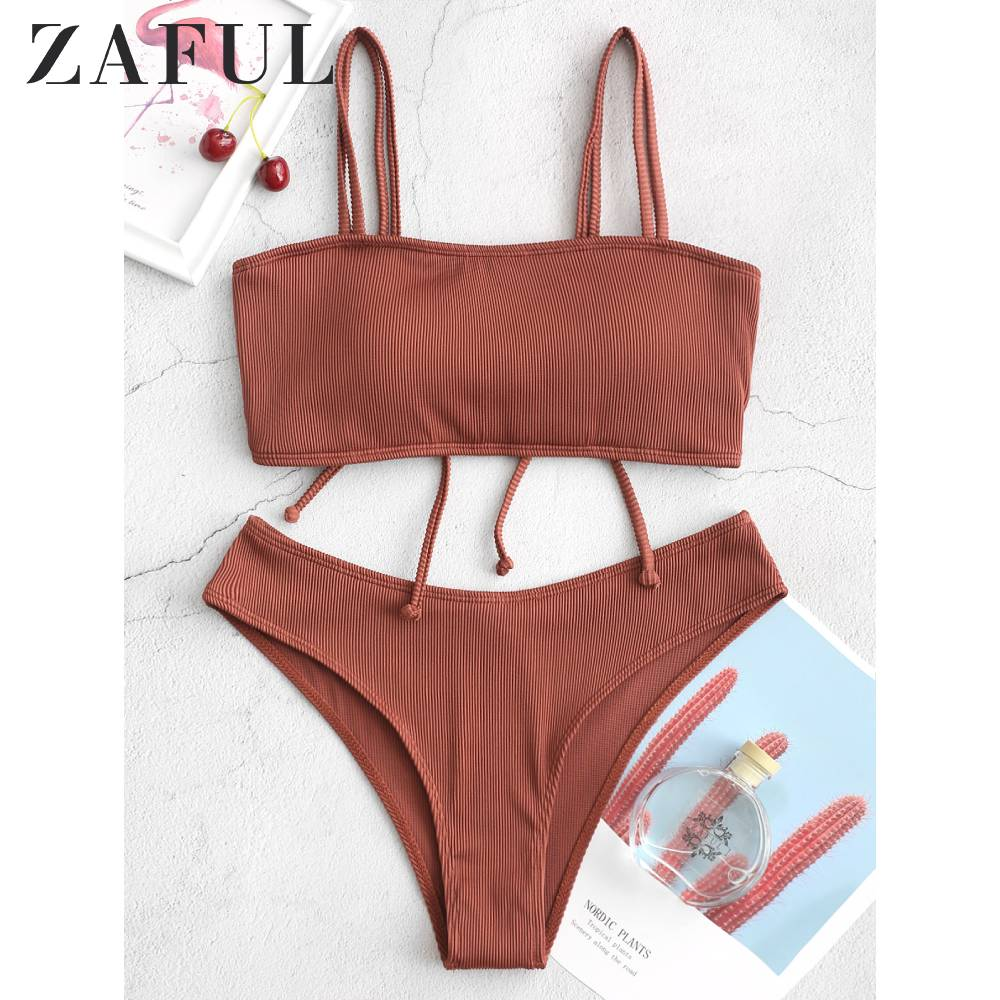 ZAFUL Crisscross Ribbed Bikini Swimsuit Snakeskin Back Lace Up Bikini Blueberry Blue Natural Waist Removable Padded Bikini Sets