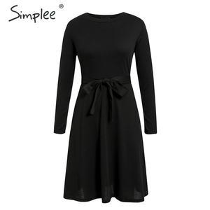 Image 3 - Simplee אלגנטי נשים סרוג סוודר שמלת אונליין שרוול ארוך רצועת חורף שמלת מוצק o צוואר נדן סתיו גבירותיי midi שמלה