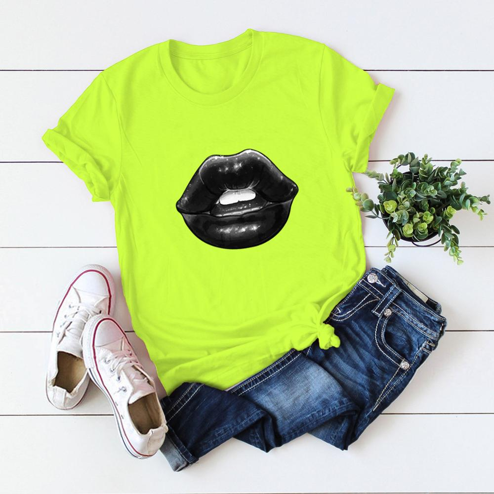 2020 S-5XL New Summer Sexy Lips Print T Shirts Women Harajuku Femme Cool T-shirt Casual Tops Tee Personality Women Tshirt