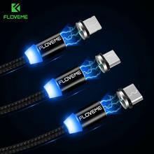 3 in1 Magnetische LED Blitz Typ C Micro USB Schnell Handykabel Ladekabel DHL