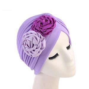 Image 3 - 女性ダブル花ターバン帽子イスラム教徒ビーニーボンネット化学がんキャッププリーツヘッドスカーフカバーイスラムファッションヘッドラップストレッチ