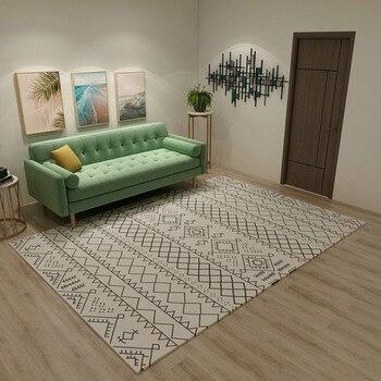 Alfombra nórdica grande a cuadros para sala de estar, Moroccon, decoración del...
