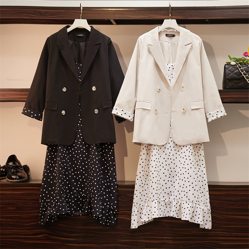 2019 Autumn Plus Size Two Piece Sets Women Dress+Suits Casual Loose Elegant Long Sleeve Blazer And Dot Sling Dresses Suit Coat
