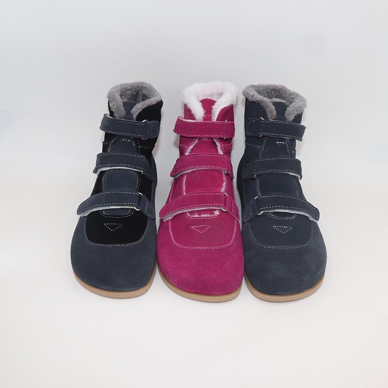 TipsieToes Лидирующий бренд Босиком из натуральной кожи для маленьких девочек и мальчиков детская обувь для модные зимние сапоги с подошвой ZigZig