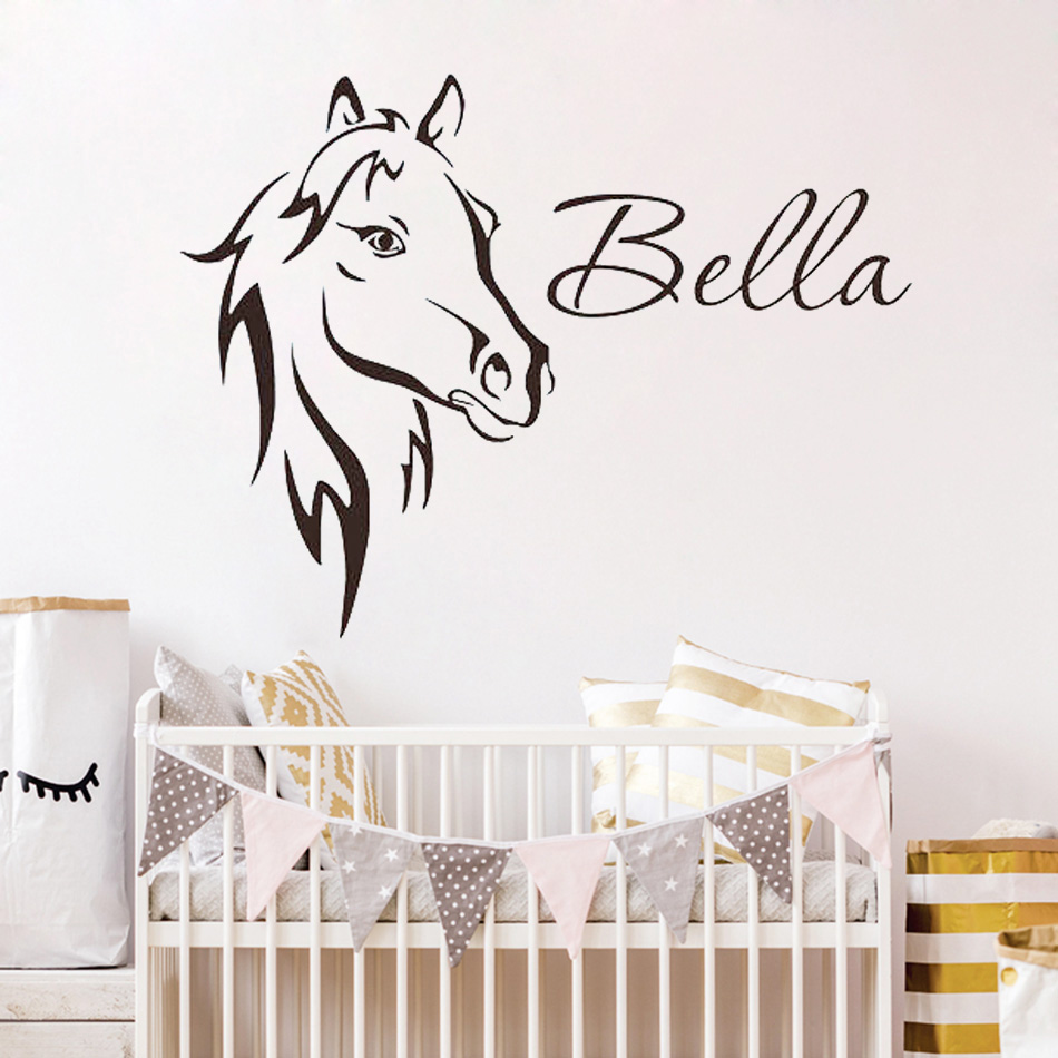 Wall Sticter For Kids Rooms DIY Horse Head Customized Name Decal Boys Girls Bedroom Living Room Personalized WY-16