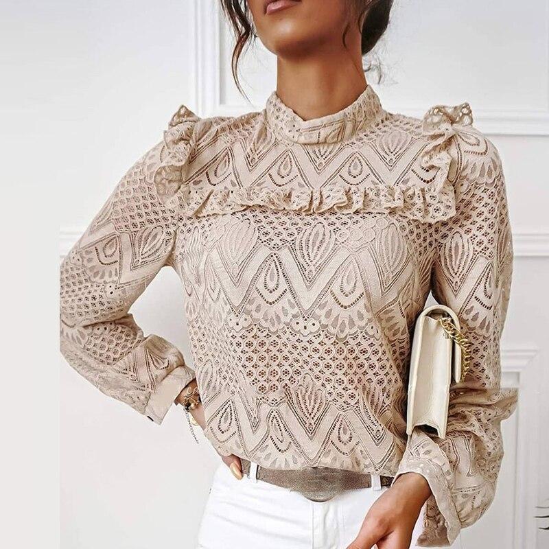 hirigin Autumn Elegant Lace Women Blouses Shirt Ruffles Long Sleeve Shirts Tops Office Lady Vintage O Neck Hollow Out Blusas 1