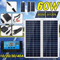 60W Folding Solar Panel 18V Dual USB with Car Charger + 10/20/30/40A USB Solar Charger Controller for Outdoor Camping LED Light