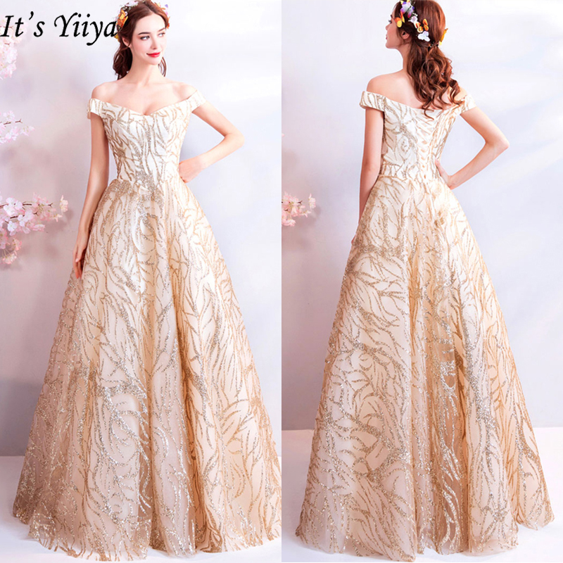 It's YiiYa   Evening     Dress   2019 Gold Off Shoulder Boat Neck Women Party Floor-length   Dresses   Lace Up Sequins Formal   Dresses   LX813