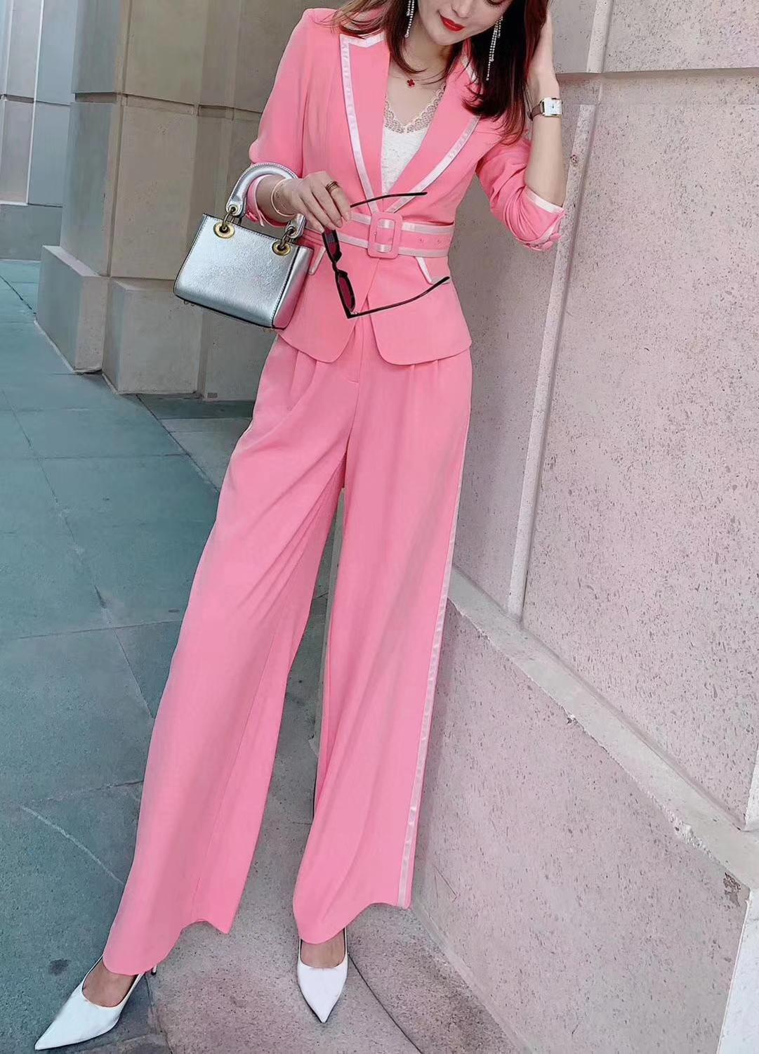 2020 Summer High Quality New Woman Pants Suit Pink Romantic Style Silver Edge Notched Silver Edge Belt Lady Suit