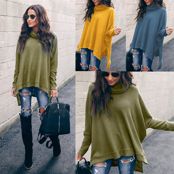 Winter Irregular Split Hem Casual Pullover Sweater Women Autumn Warm Knited Pull Top Female Loose High Solid Sweater Sweatswear grey chimney collar flared sleeves irregular hem sweater