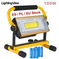 Reflector LED impermeable para exteriores, Reflector de 100W, recargable, proyector externo, foco de luz RGB