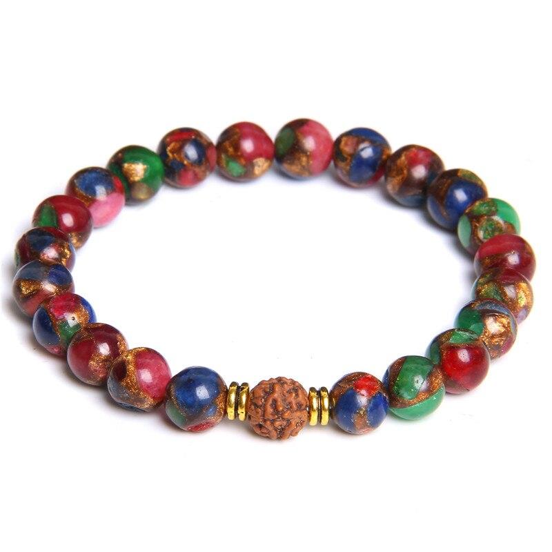 Natürliche Geschnitzte Nussbaum Armband Für Frauen Poliert Bunte Chakra Cloisonné Perle Armband Gold Charme Armreif Homme PulseraJewelry