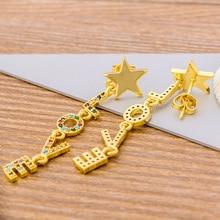 New Fashion Rainbow CZ Gold Color Earrings Long Drop Dangle Love Star Earrings Fine Party Wedding Jewelry For Women Girls Gifts star cz drop earrings