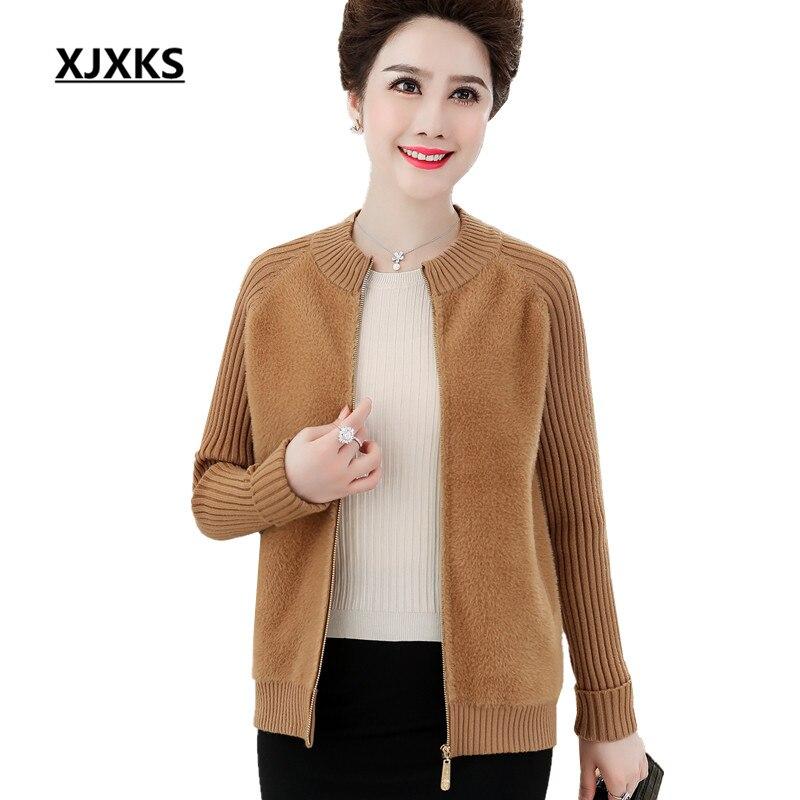 XJXKS haut de gamme vison cachemire femmes veste 2019 automne hiver nouveau confortable décontracté cardigan à fermeture éclair femmes manteau